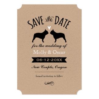 Cartão Silhuetas do buldogue francês que Wedding