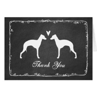 Cartão Silhuetas do galgo italiano que Wedding o obrigado