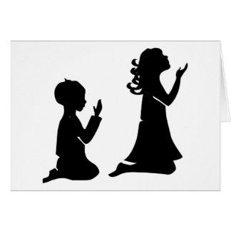 Cartão Silhuetas pretas Praying das crianças