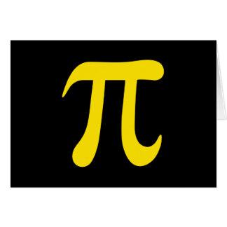 Cartão Símbolo amarelo do pi no fundo preto