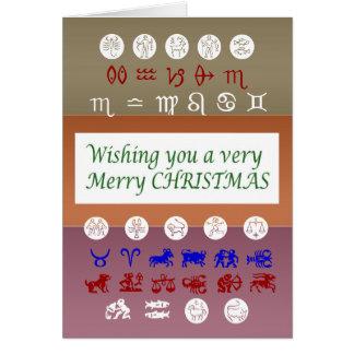Cartão Símbolo da astrologia do zodíaco: Xmas do Feliz