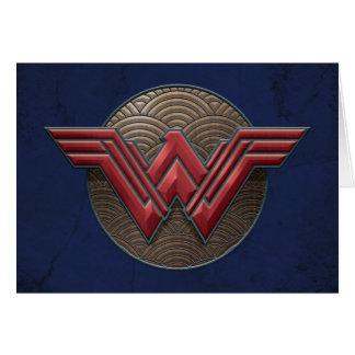 Cartão Símbolo da mulher maravilha sobre círculos