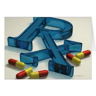 Cartão símbolo de 3D RX com cápsulas