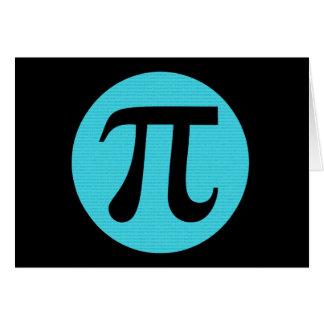 Cartão Símbolo do Pi do geek da matemática, azul no preto