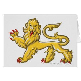 Cartão Símbolo heráldico de guardant statant do leão