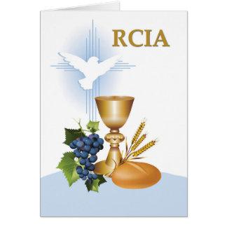 Cartão Símbolos católicos do sacramento dos parabéns de