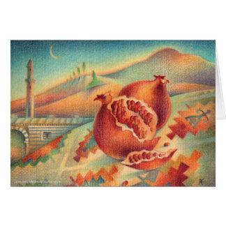 Cartão Símbolos das romã da abundância