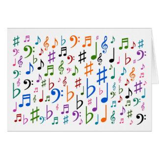 """Cartão Símbolos de música coloridos + """"Dia das mães"""