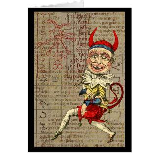 Cartão Símbolos ocultos do zodíaco do palhaço do diabo
