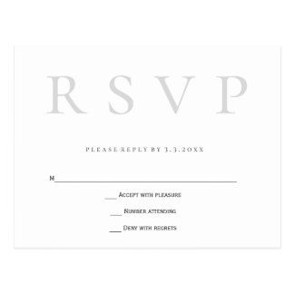 Cartão simples cinzentos do rsvp do casamento