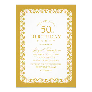 Cartão Simples da 50th festa de aniversário do adulto &