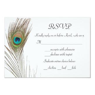 Cartão simples da pena RSVP do pavão Convite 8.89 X 12.7cm