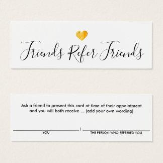 Cartão simples da referência do cliente do coração