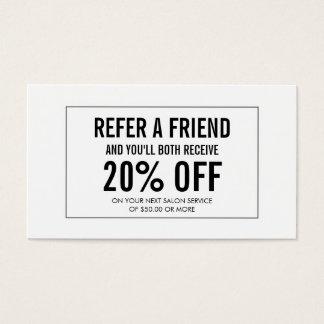 Cartão simples da referência do cliente do salão