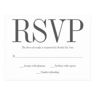 Cartão simples de RSVP Cartão Postal