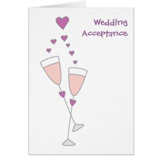 Cartão simples do brinde do champanhe da aceitação