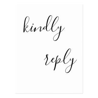 Cartão simples do casamento do rsvp da rotulação