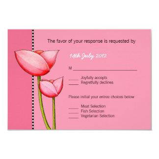 Cartão simples do casamento RSVP do rosa 1 das Convite 8.89 X 12.7cm