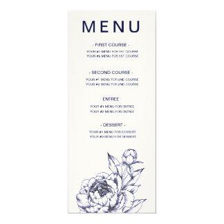 Cartão simples do menu da peônia do marinho