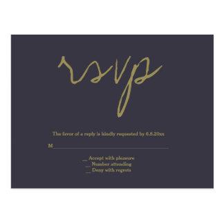 Cartão simples do rsvp do casamento do marinho &
