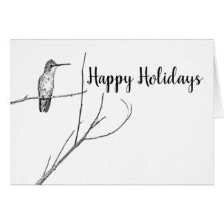 Cartão simplesmente um colibri em uma vara, boas festas