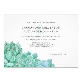 Cartão Simplesmente wedding dos Succulents horizontal