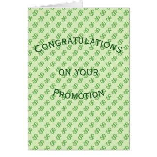 Cartão Sinais de dólar em parabéns verdes da promoção