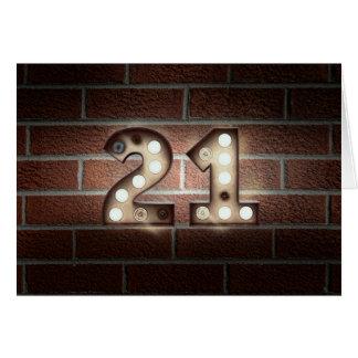 Cartão sinal claro do 2ø aniversário-famoso no tijolo