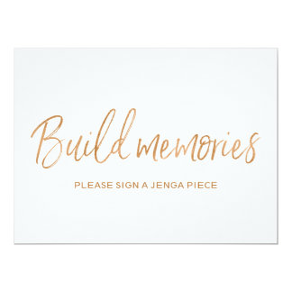 Cartão Sinal cor-de-rosa de Jenga das memórias