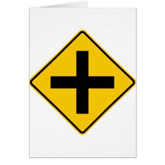 Cartão Sinal da estrada da intersecção da estrada