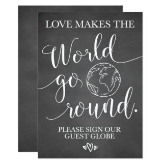 Cartão Sinal da mesa do casamento do globo do convidado