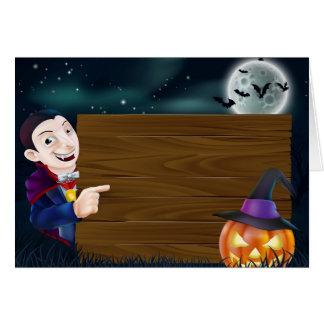 Cartão Sinal de madeira do Dia das Bruxas Dracula