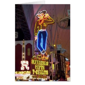 Cartão Sinal de néon Las Vegas do vaqueiro
