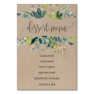 Cartão Sinal do menu da sobremesa da folha de Kraft