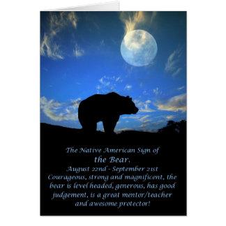 Cartão Sinal do zodíaco do nativo americano do urso