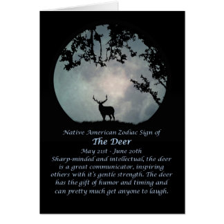 Cartão Sinal do zodíaco do nativo americano dos cervos