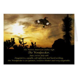 Cartão Sinal do zodíaco do nativo americano o
