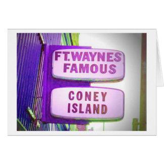 Cartão Sinal famoso de Waynes Coney Island do forte