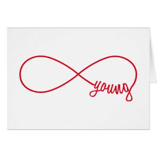 Cartão sinal para sempre novo, vermelho da infinidade