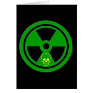 Cartão Sinal radioativo do cuidado com crânio