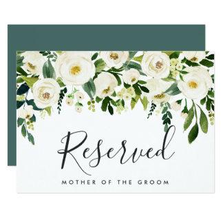 Cartão Sinal reservado do casamento floral do alabastro