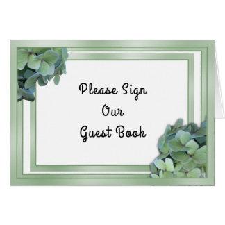 Cartão Sinal verde da mesa do livro de hóspedes do