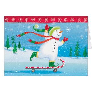 Cartão Skateboarding do boneco de neve