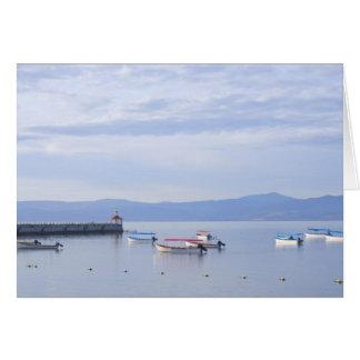 Cartão Skiffs e cais de Chapala do lago