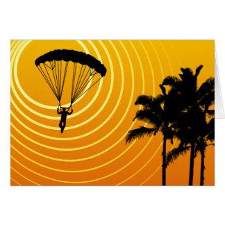 Cartão skydiver da cena do sol