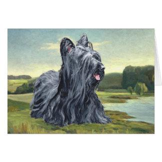 Cartão Skye Terrier na paisagem pastoral
