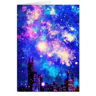 Cartão Skyline da cidade do estilo & céu nocturno cómicos