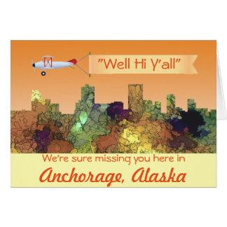 Cartão Skyline de Anchorage, Alaska - SG - lustre do
