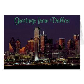 Cartão Skyline de Dallas na noite