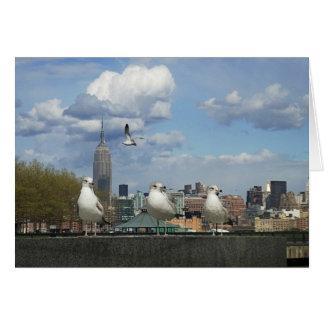 Cartão Skyline de New York com gaivotas